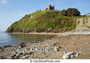 Criccieth beach North Wales UK in summer on Cardigan Bay