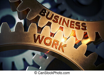 Golden Gears with Business Work Concept. 3D Illustration. -...