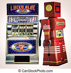 slot machine - red Robot playing on old slot machine