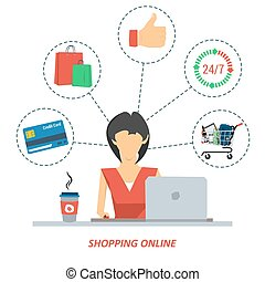 Woman on shopping online - Vector concept woman in red dress...