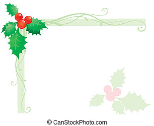 Holly sprig on white background
