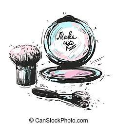 Various Cosmetics make up brushes isolated on white background