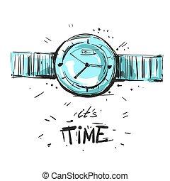 Watch fashion illustration sketch vector - Watch fashion...