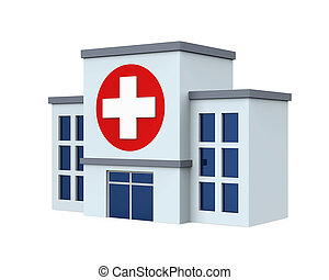 Hospital Building Isolated - Hospital Building isolated on...
