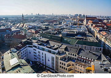 Panorama view of Munich city center. Germany