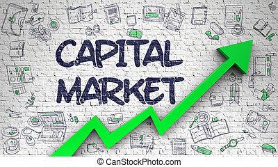 Capital Market Drawn on Brick Wall. 3d