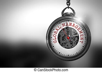 Global Management on Pocket Watch Face. 3D Illustration. -...