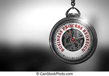 Business Process Redesign on Pocket Watch. 3D Illustration....
