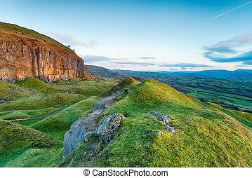 The Llangattock Escarpment in Wales - Limestone cliffs on...