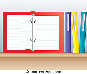 ring binder - an illustration of colored ring binders on a...