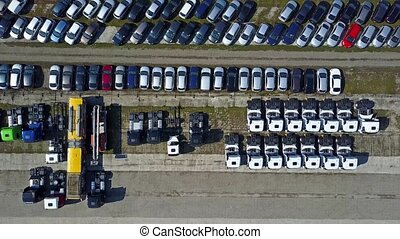 Cars and trucks outdoor storage - Aerial shot of cars and...