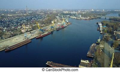 Aerial survey of cargo port - Aerial survey of a cargo port...