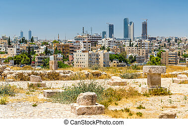 Cityscape of Amman downtown from the Citadel - Jordan