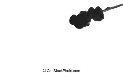 INK BACKGROUND FOR COMPOSITING. BLACK SMOKE or INK IN WATER SERIES. Watercolor dropped in water on white background. Voxel graphics. Ink dissolving in water. Version 2