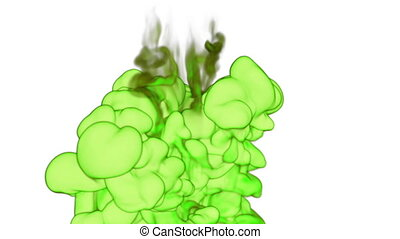 Close-up light green Ink or smoke with alpha mask underwater move in slow motion. VFX Cloud of Ink for transitions, background, overlay and effects. For alpha channel use alpha matte. Ver 11