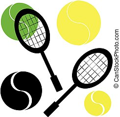 Tennis ball with racket on white background