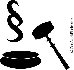 Gavel of a judge in court with paragraph. Vector...
