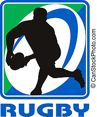 Rugby player passing ball facing front in silhouette -...