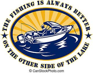 pescador, pesca, bote, vara, bobina