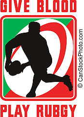 Rugby player passing ball facing front
