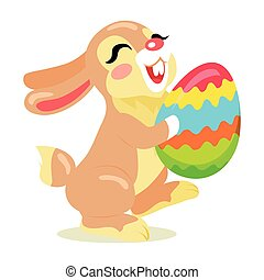 Easter Cheerful Bunny Holding Painted Egg Flat