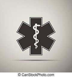 Medical symbol of the Emergency - Star of Life icon. Vector...