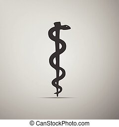 Rod of Asclepius Snake Coiled Up Silhouette. Vector...