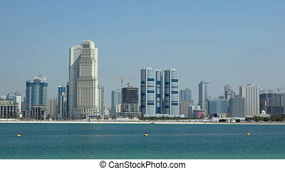 Beach and the city in the background. UAE. Static 1080p video shot