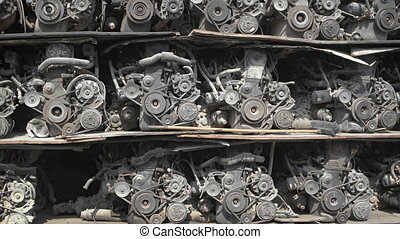Rack with automobile engines. Old parts for sale. 1080p...