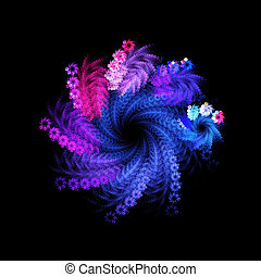colorful twirl rays - colorful twirl flower rays on dark...