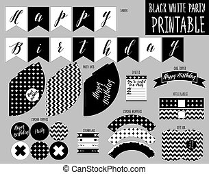 Printable set. Black and white party