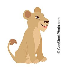 Lioness or Lion Cub Cartoon Icon in Flat Design