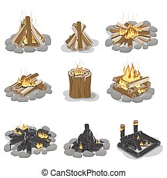 Burning Campfire Logs Collection Isolated on White