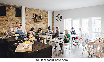Room Shot Of A Busy Cafe