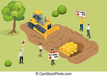 Radioactive waste concept. People protest environmental pollution with radioactive waste. Flat 3d vector isometric illustration