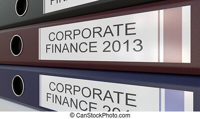 Office binders with Corporate finance tags different years -...