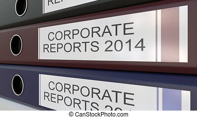 Office binders with Corporate reports tags different years -...