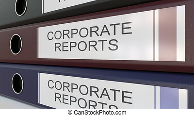 Office binders with Corporate reports tags - Line of...