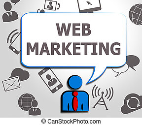 Web Marketing Meaning Sem Sites 3d Illustration - Web...