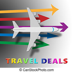 Travel Deals Indicating Discount Tours 3d Illustration -...