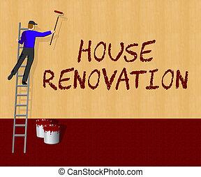 House Renovation Indicates Home Improvement 3d Illustration...