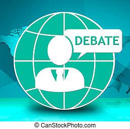 グループ, 議論, イラスト, 討論, 対話, 提示, 3D