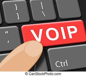Voip Key Shows Internet Voice 3d Illustration