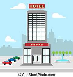 Hotel Vacation Shows City Accomodation 3d Illustration -...