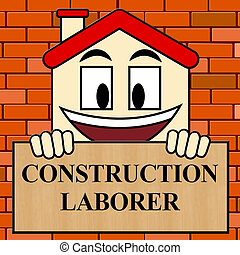 Construction Laborer Shows Building Worker 3d Illustration