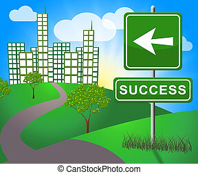 Success Sign Representing Triumphant Victory 3d Illustration...