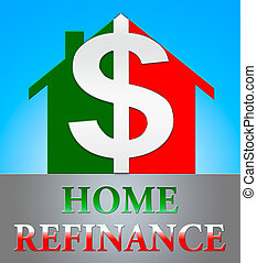 Home Refinance Showing Equity Mortgage 3d Illustration -...