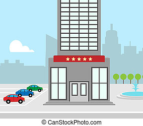 Hotel Vacation Means City Accomodation 3d Illustration -...