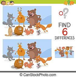 game of differences with animals - Cartoon Illustration of...