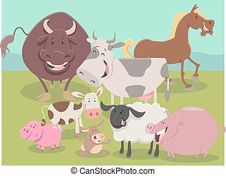 farm animal characters group - Cartoon Illustration of Cute...
